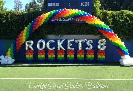 Rainbow Balloon Arch & Lettered Balloon Stands